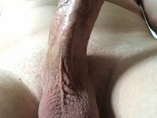 My husband has the hottest cock I\'ve ever seen. He sent me this after playing with the new mouth sex toy I picked out for him.