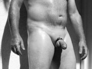 Outside,oiled smooth cock bound..