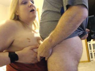 Busty, orgasmic wife cums while getting her tits fucked!  Isn't she lucky?  Cumming from titfucking. :)