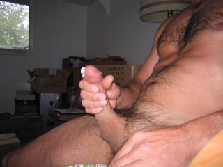 Hot pic! Looks like a big, thick load on the way.