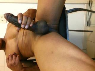 Mmmmm, I'd love to have that cock stuffed in my hot wet pussy and fucking it good.  Then pull it out and let me taste it by sucking on it.  That's gorgeous black cock.  Mrs. K