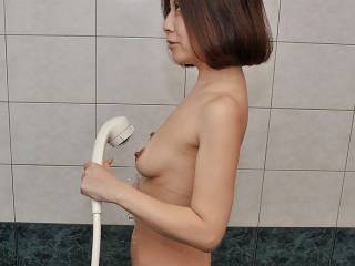 asian wife in shower