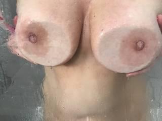 love her wet titties in the shower