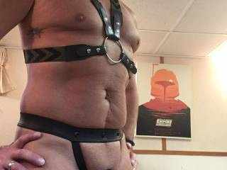 Hubby posing for me in his harness and cock ring before he fucks me hard! Would you like that cock in your mouth?