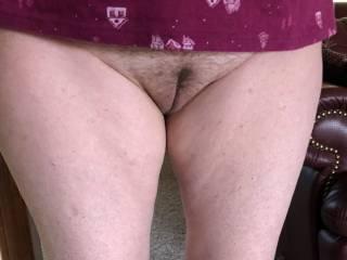 Teasing me with no panties.