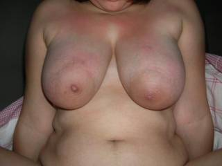 Nice and big I would love to cum on them and rub my cock on the nipples...