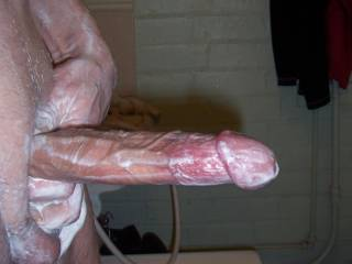 Oooooh, I see you are.  If I were there you'd be having even more fun. I know I would be with that soapy clean hard cock.  K