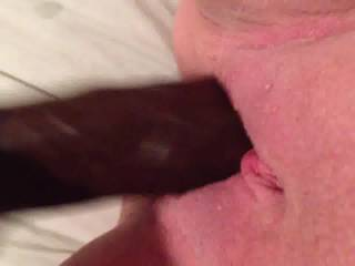 now that's a nice wet pussy..And I see it takes a nice black cock well to. Hope my cock is next to feel your wetness.