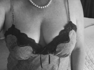Mmmmm, as if that was posted just for me,.... Beautiful breasts and you're wearing pearls...., omg mmmmmm