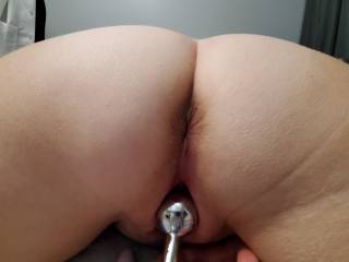 Wife playing with new toy .. which hole should we put it in ??