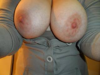 beautiful big tits that I would love to suck for hours and that succulent juicy pussy that I would lick and suck too many orgasms and fuck till your toes curl . what a woman I wish you were closer to make this fantasy a reality.