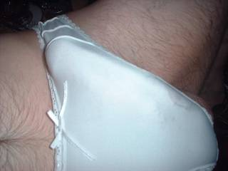 Love a stiff cock in silky white panties;-)
