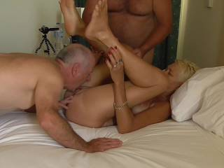Pt 4 of our play with a new friend. 2 of us tag-team her to maintain her pleasure without bringing her to climax ....yet.