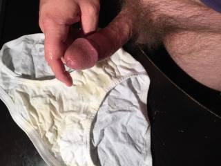 1 of 7 jizz shots for this white cotton panty! This was my first panty exchange... what is it about a woman\'s panties that gets us so turned on?