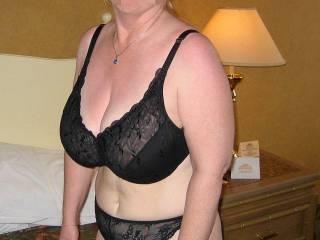 Becky in black bra and panties.