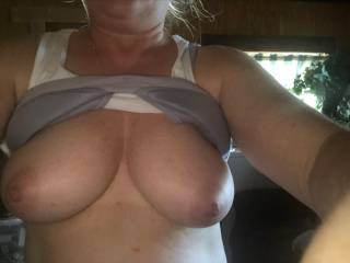 Mmmmmm look at those beautiful tits firm and big hard brown nipples NOT BAD FOR 53 years old , who wants to suck them or shoot cumm all over them