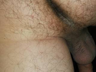 Hairy ass and hanging balls