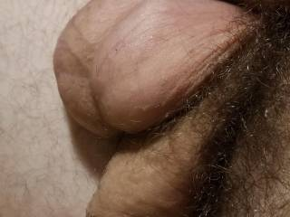 Couldn\'t help but to get a nice shot of my glistening balls while they hung over my soft cock, spent from a day of vigorous fapping