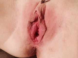 Awesome looking pussy!  Would you mind if I put a little stretch on your wife's pussy?  Herb