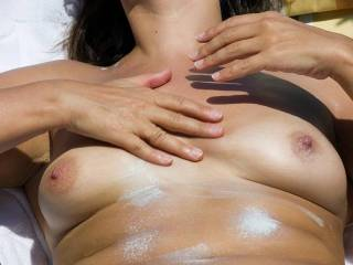 Love how you tease ;-) Mmm...Love your perfect tits too babe...Would love to have them in my mouth right about now...
