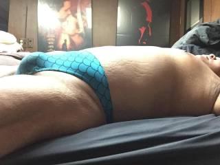 Blue scales thong bulge
