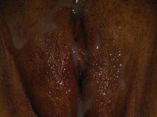Leaving his load on my pussy after fucking me real good.
