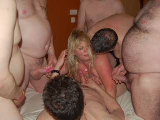 My slutty fat fuck pig wife Jane 51, gangbanged in a hotel, all holes all bare