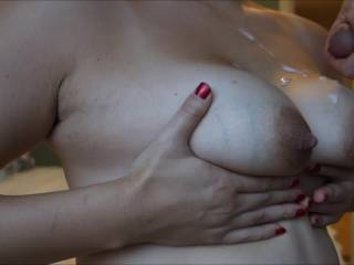 My husband can join you in cumming on her tits.   I'll lick and suck up all that cum and while I suck on your cock for more cum...she will suck on my husbands cock for more of his cum.  K & G