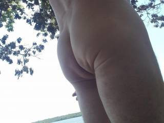 Love being naked outdoors.... there is a boat just behind me, wonder if they saw me!!