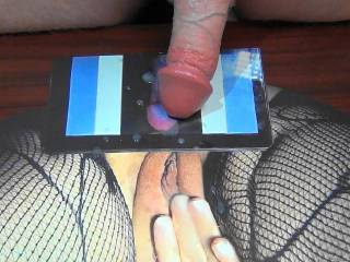 My warm cum load that I shot on campingcunt\'s tasty pussy tribute she made for me! I was a little too excited and over shot my jizz!