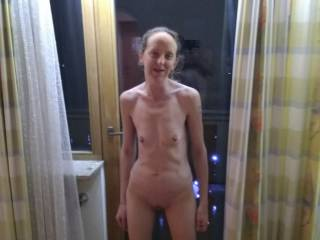 Joanne naked in our hotel room