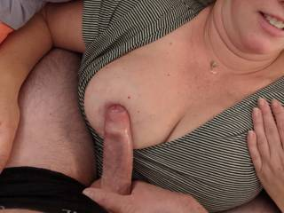 Rubbing your nipples down with my cock