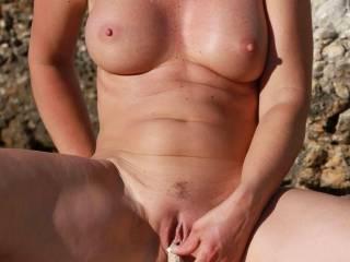 mmmmmmmmmmmm, those big titties are beautiful and that smooth pussy looks sooooooooo sweet. can i have just a little taste?