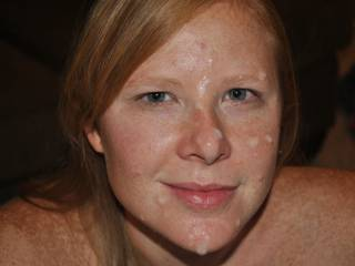 mmmmmm great shot, love your sexy freckles and the only prob with this pic is thats notmy cum on your beautiful face!!
