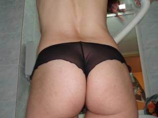 Sheer and sexy have always been synonymous... I feel these sheer panties reveal my feminity and beautiful curves of my body, giving the round shape of my ass a nice silhouette look... Do you agree?...