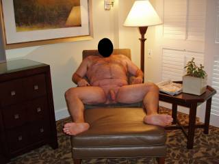 Weekend getaway at a luxury resort.  Hubby posing nude for me!  I love this pic...makes me want to jump right in and suck his cock!