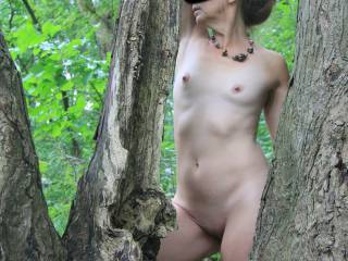 I love posing outdoors and here are some from 2012, a little adventure in a local park. It all started with walking the trails, good thing hubby had the camera and I was wearing a wrap dress. Then off to the beach, were we found a nice secluded spot.