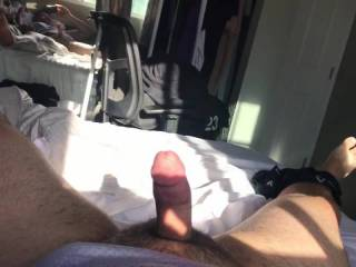 Stroking my hard cock in the AM