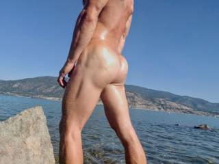 At the nude beach enjoying the sun