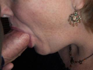 lips wrapped around his thick cock