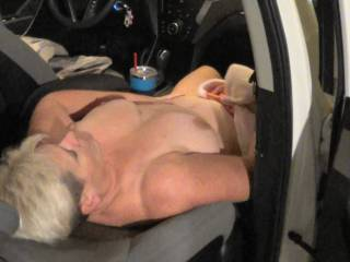 Wife in the car at parking garage wait to fuck