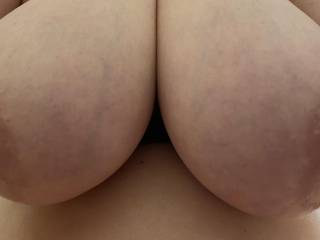 As my wife was riding me recently I had to get a picture of the incredible view I was enjoying of her E Cup sized tits.