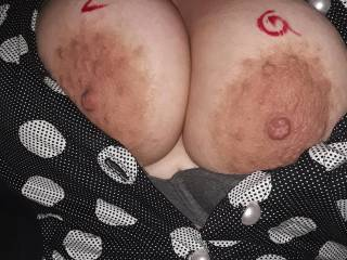 Her big tits. She likes cum on them. Any takers?