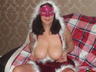 getting ready for santa to suck on my nipple\'s . or would you?