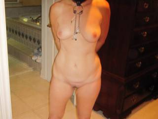 The bondage slut asked to go out dancing.  I said yes, but I will choose the outfit.  Lots of people asked her for a dance.