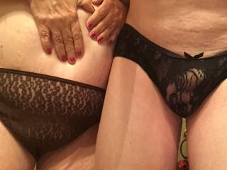 Those lacy panties are sexy and would like to play with both of you in them.