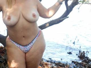 Sexy tits outdoors