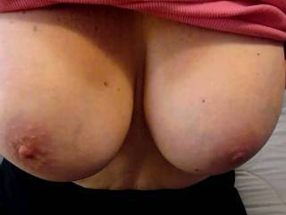 She loves showing her big tits anytime...I don\'t mind watching either!