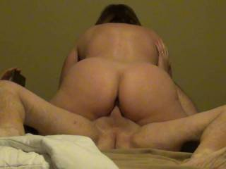 Round Ass wife loves riding! Creampie anyone?