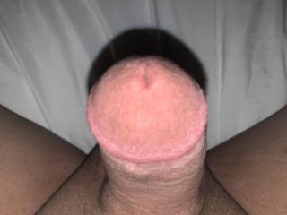 Looking down on my hard dick.